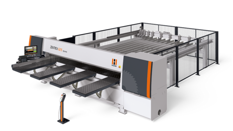 The horizontal pressure beam saw ZENTREX 6215 dynamic is the high-performance cutting solution with connection to plate storage systems