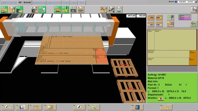 Graphical 3D user interface for intuitive operation and machine operation function